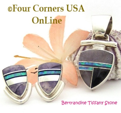 Bertrandite Tiffany Stone Fire Opal Fine Inlay Pendant Post Earrings Set Four Corners USA OnLine Navajo Silver Jewelry