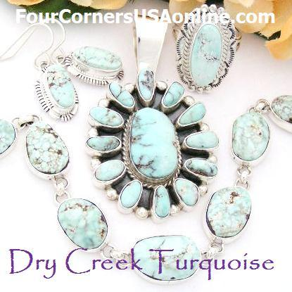 Four Corners USA Native American Dry Creek Turquoise Jewelry Collection Earrings Bracelets Pendants and Earrings