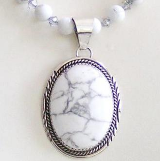 Howlite Pendant and Optional Beaded Necklace