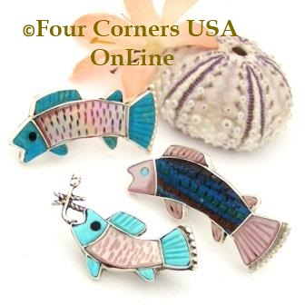 Zuni Inlay Fish Brooch Lapel Pin Four Corners USA OnLine Native American Silver Jewelry