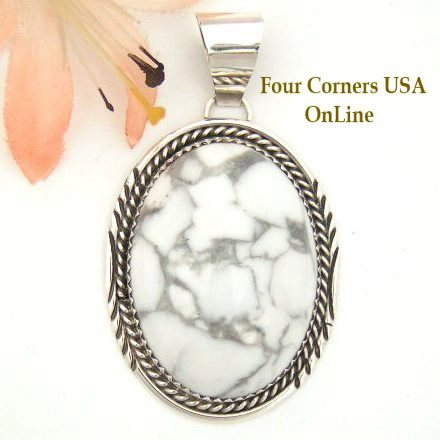Howlite Sterling Pendant Navajo Herman Lee Four Corners USA OnLine Native American Jewelry