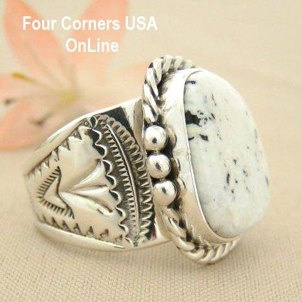 Men S White Buffalo Turquoise Ring Size 11 1 2 Navajo Tony Garcia American Indian Silver Jewelry