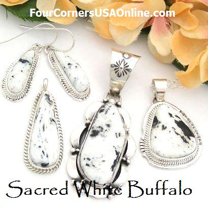 Sacred White Buffalo Turquoise Earrings, Pendants and Bracelets
