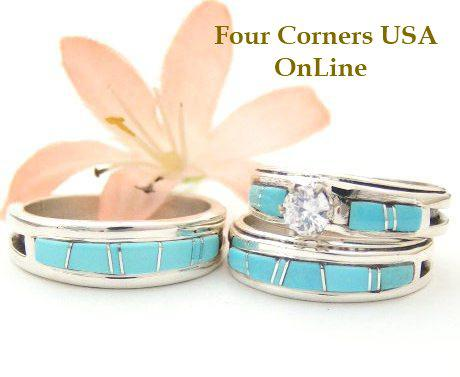 turquoise bridal engagement and bridegroom wedding bands by navajo wilbert muskett jr four corners usa online - Turquoise Wedding Rings