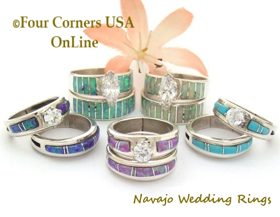 navajo wedding band engagement bridal ring sets four corners usa online native american jewelry - Artisan Wedding Rings