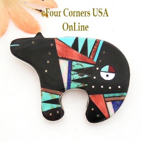 Intarsia Inlay Bear Sunface Pin Pendant Zuni Artisan Germaine Smith Four Corners USA OnLine Native American Jewelry